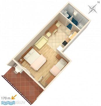 Seget Vranjica, Plan u smještaju tipa studio-apartment.