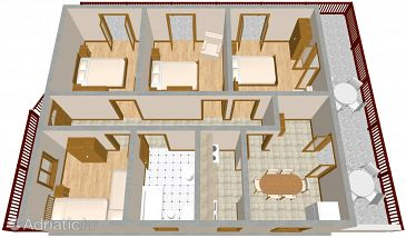 Kanica, Plan u smještaju tipa apartment.