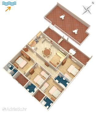 Arbanija, Plan u smještaju tipa apartment.