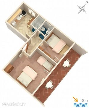 Basina, Plan u smještaju tipa apartment.