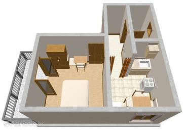 Zavala, Plan u smještaju tipa apartment, dopusteni kucni ljubimci i WIFI.