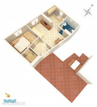 Lumbarda, Plan u smještaju tipa apartment, WIFI.