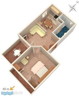 Banjol, Plan u smještaju tipa apartment, WIFI.