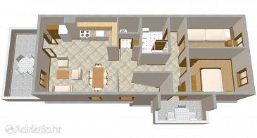 Mandre, Plan u smještaju tipa apartment, WIFI.
