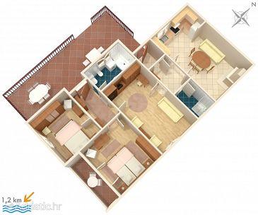 Dubrovnik, Plan u smještaju tipa apartment.