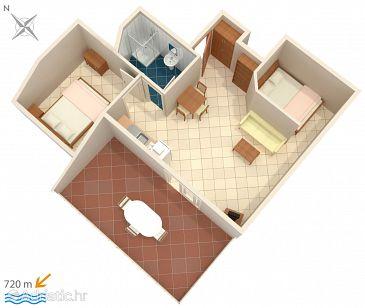 Rovinj, Plan u smještaju tipa apartment, dopusteni kucni ljubimci i WIFI.
