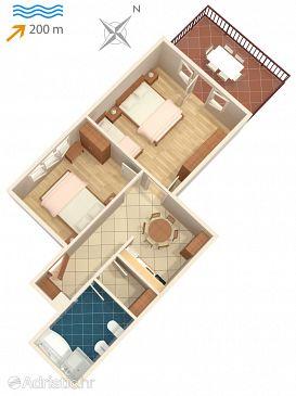 Lovran, Plan u smještaju tipa apartment, dopusteni kucni ljubimci i WIFI.