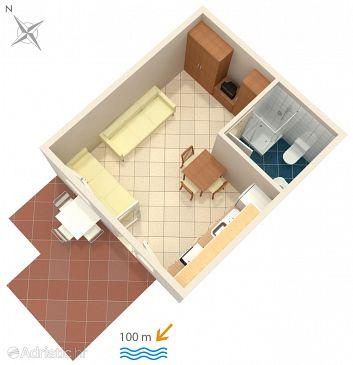 Crikvenica, Plan u smještaju tipa studio-apartment, dopusteni kucni ljubimci i WIFI.