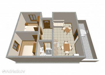 Zavalatica, Plan kwatery w zakwaterowaniu typu apartment, dopusteni kucni ljubimci i WIFI.