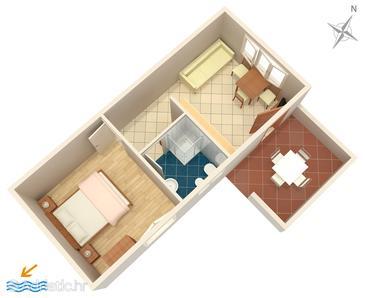 Mali Lošinj, Plan u smještaju tipa apartment, dopusteni kucni ljubimci i WIFI.