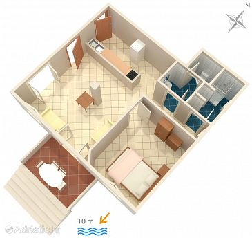 Uvala Jedra, Plan kwatery w zakwaterowaniu typu apartment, dopusteni kucni ljubimci i WIFI.