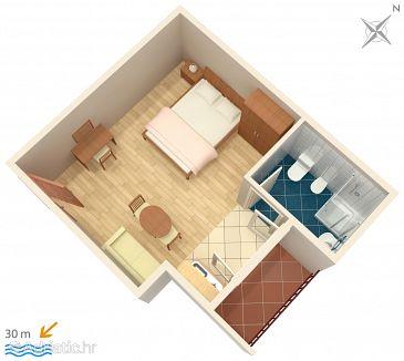 Podgora, Plan u smještaju tipa studio-apartment, WIFI.
