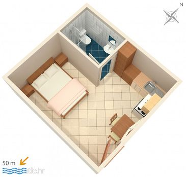 Studio flat AS-2603-a - Apartments and Rooms Živogošće - Mala Duba (Makarska) - 2603