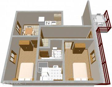 Mirca, Plan u smještaju tipa apartment, WIFI.
