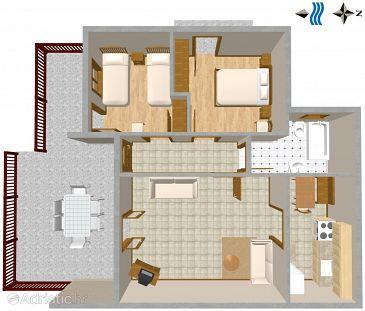 Bratuš, Plan u smještaju tipa apartment, WIFI.