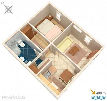 Tučepi, Plan u smještaju tipa apartment, dopusteni kucni ljubimci i WIFI.