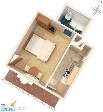 Baška Voda, Plan u smještaju tipa studio-apartment, dopusteni kucni ljubimci i WIFI.