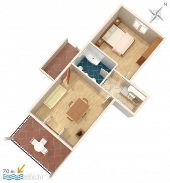 Orebić, Plan kwatery u smještaju tipa apartment, WIFI.