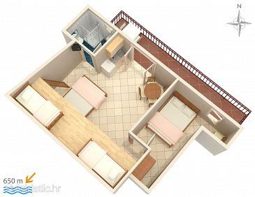 Makarska, Plan u smještaju tipa apartment, WIFI.