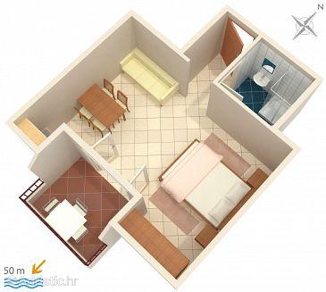 Nemira, Plan u smještaju tipa studio-apartment, dopusteni kucni ljubimci i WIFI.