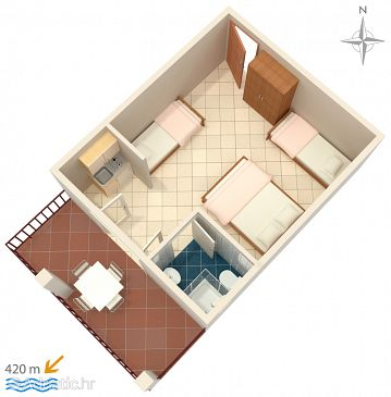 Gradac, Plan u smještaju tipa studio-apartment, dopusteni kucni ljubimci i WIFI.