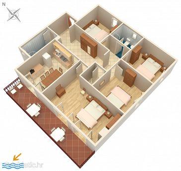 Rabac, Plan u smještaju tipa apartment, dopusteni kucni ljubimci i WIFI.