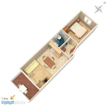 Premantura, Plan u smještaju tipa apartment, dopusteni kucni ljubimci.