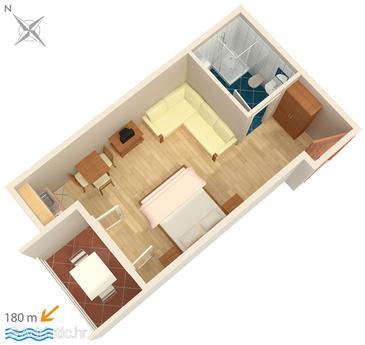 Potočnica, Plan u smještaju tipa studio-apartment, dopusteni kucni ljubimci i WIFI.