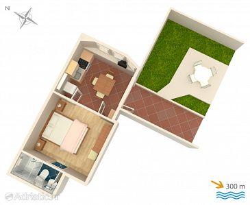 Mlini, Plan u smještaju tipa studio-apartment, WIFI.