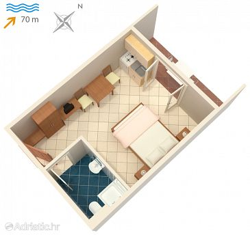 Studio flat AS-3248-b - Apartments and Rooms Vinjerac (Zadar) - 3248