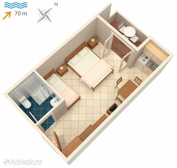 Studio flat AS-3248-f - Apartments and Rooms Vinjerac (Zadar) - 3248