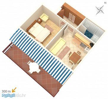 Mandre, Plan u smještaju tipa apartment, dopusteni kucni ljubimci.