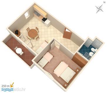 Mandre, Plan kwatery w zakwaterowaniu typu apartment, dopusteni kucni ljubimci.