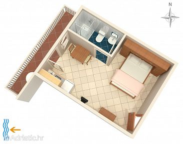 Metajna, Plan u smještaju tipa studio-apartment, WIFI.