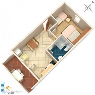 Metajna, Plan u smještaju tipa apartment, WIFI.
