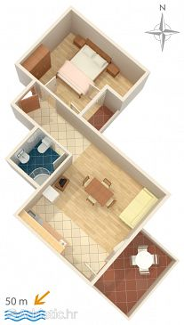 Stara Novalja, Plan u smještaju tipa apartment, WIFI.