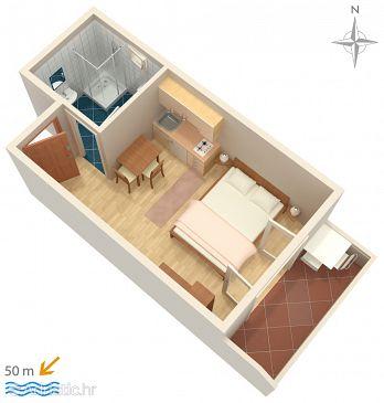 Pag, Plan u smještaju tipa studio-apartment, dopusteni kucni ljubimci i WIFI.