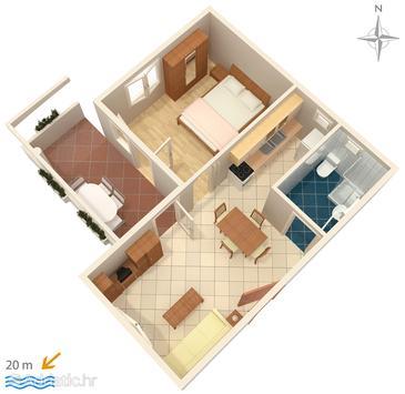 Bibinje, Plan u smještaju tipa apartment, dopusteni kucni ljubimci i WIFI.
