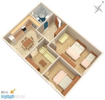 Zablaće, Plan u smještaju tipa apartment, dopusteni kucni ljubimci i WIFI.