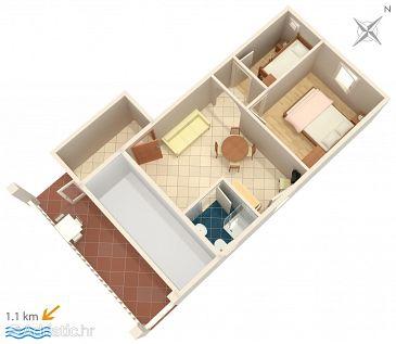 Biograd na Moru, Plan kwatery u smještaju tipa apartment, WIFI.