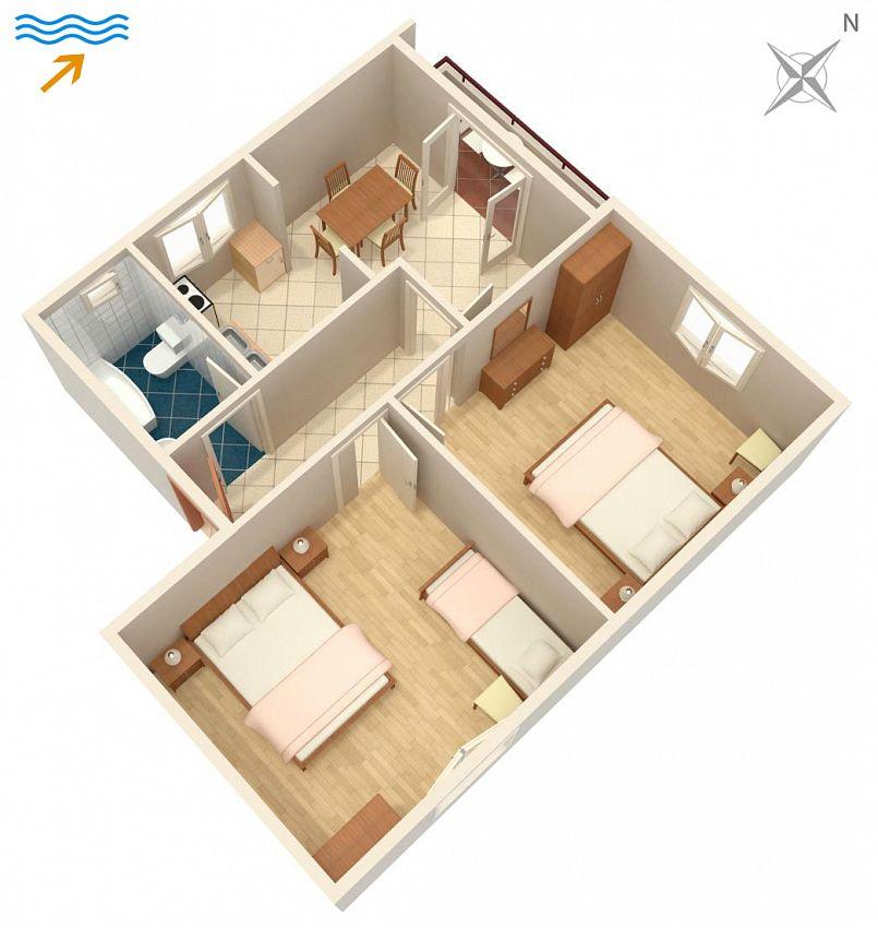 Apartmán na pláži v meste Drače - 4550