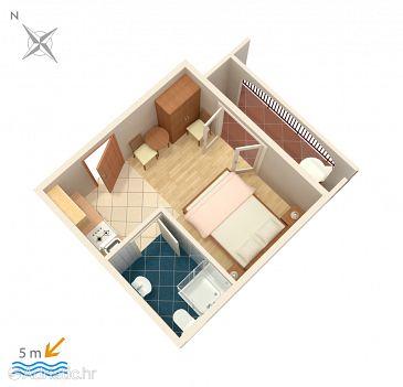 Okrug Gornji, Plan u smještaju tipa studio-apartment, dopusteni kucni ljubimci i WIFI.