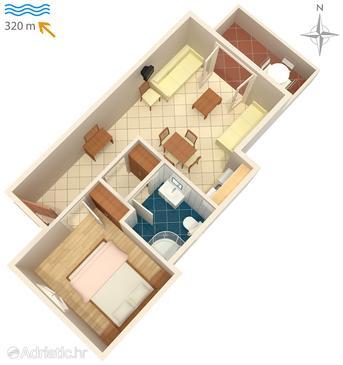 Vrboska, Plan u smještaju tipa apartment, dopusteni kucni ljubimci.