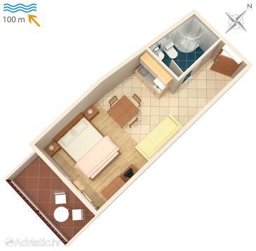 Studio flat AS-4810-c - Apartments Drašnice (Makarska) - 4810