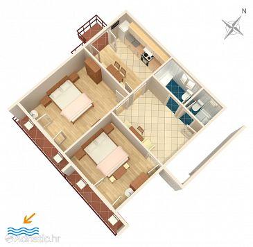 Banjol, Plan u smještaju tipa apartment, dopusteni kucni ljubimci i WIFI.