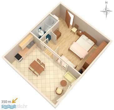 Makarska, Plan u smještaju tipa studio-apartment, WIFI.