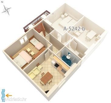 Milna, Plan u smještaju tipa apartment, WIFI.