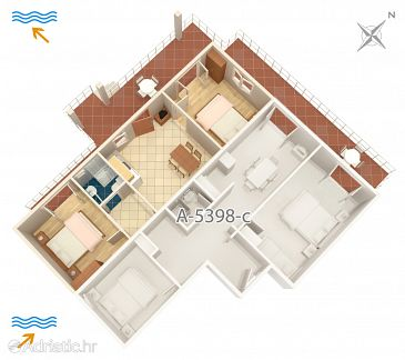 Apartment A-5398-d - Apartments and Rooms Njivice (Krk) - 5398
