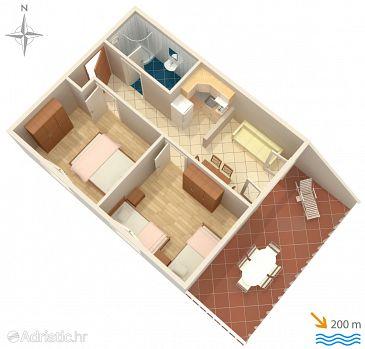 Baška, Plan u smještaju tipa apartment, dopusteni kucni ljubimci i WIFI.