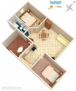 Malinska, Plan u smještaju tipa apartment, dopusteni kucni ljubimci.